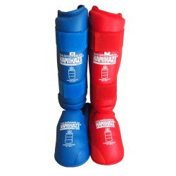 Kamikaze karate shin guards red approved