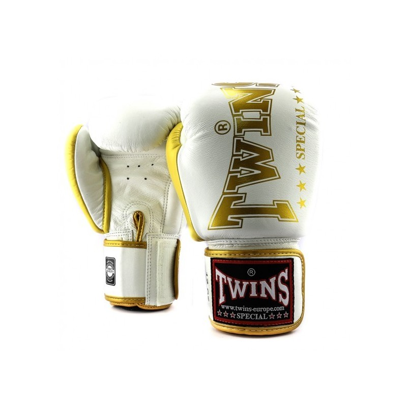 Twins Muay Thai Gloves BGVL 8 White/Gold  Boxing equipment  Fighters